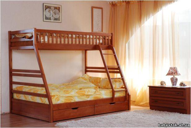 Двухъярусная кровать деревянная троя